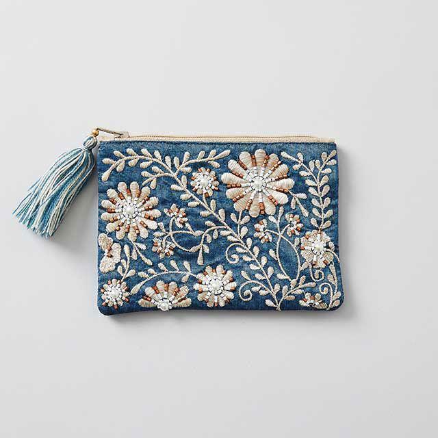 ビーズ刺繍ミニフラットポーチ ブルー