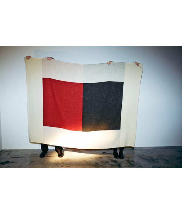 Shetland Wool Big Block Blanket/BLUE