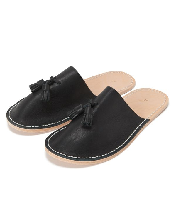 Hender Scheme leather slipper ブラック/L