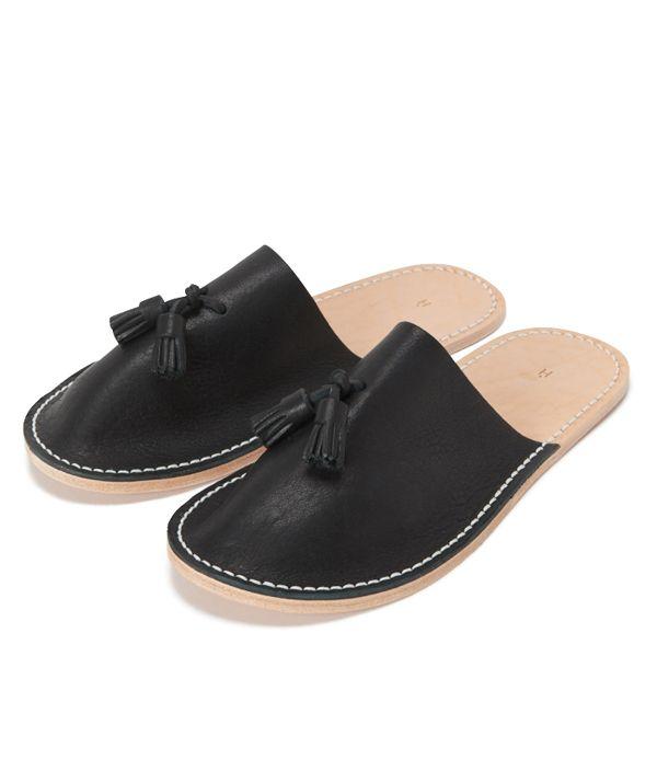 Hender Scheme leather slipper ブラック/S
