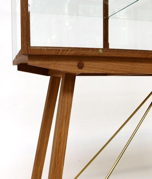 Oak Display Cabinet on legs
