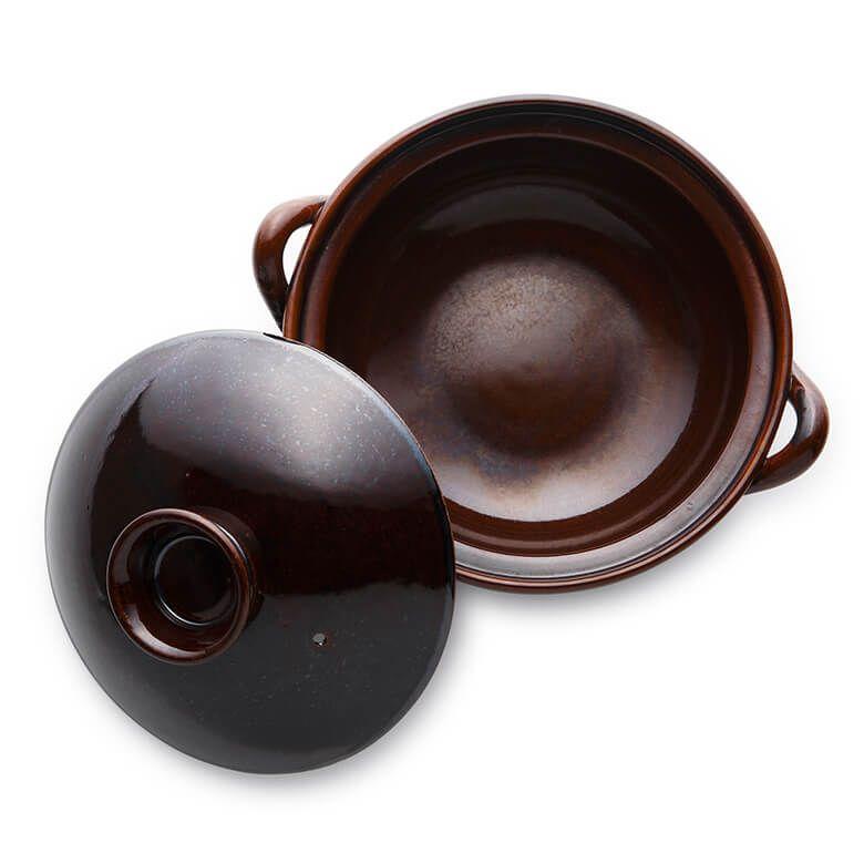 竜清窯 アメ釉 手造り8号土鍋