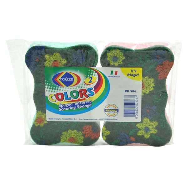 COLOURS Green Abrasive Celluloseはカラフルな花柄がプリントされたスポンジです