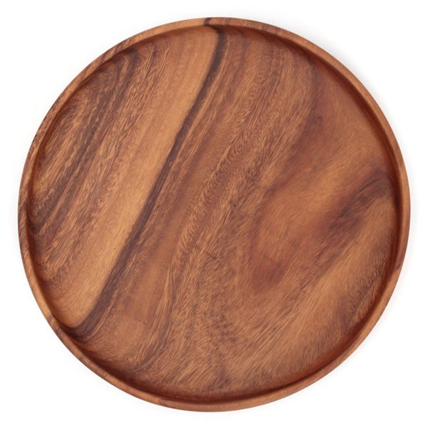 天然木のアカシアの木で作られたラウンドトレーです。