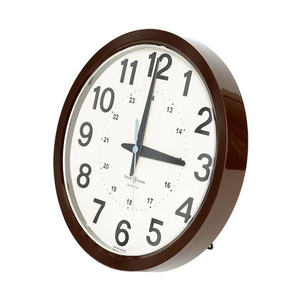 24-HOUR ROUND WALL CLOCK ブラウン