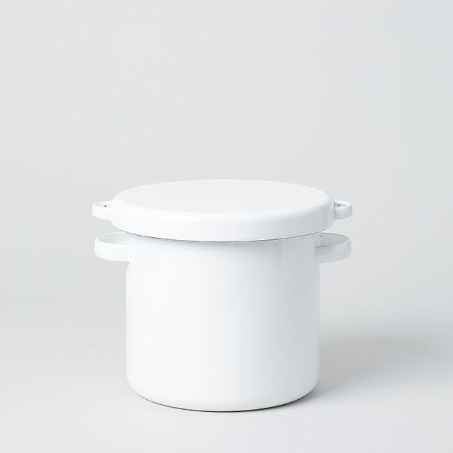野田琺瑯 ホワイト・シリーズ ラウンド ストッカー 18cm 18cm