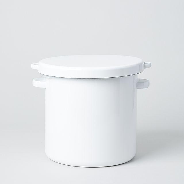 野田琺瑯 ホワイト・シリーズ ラウンド ストッカー 24cm