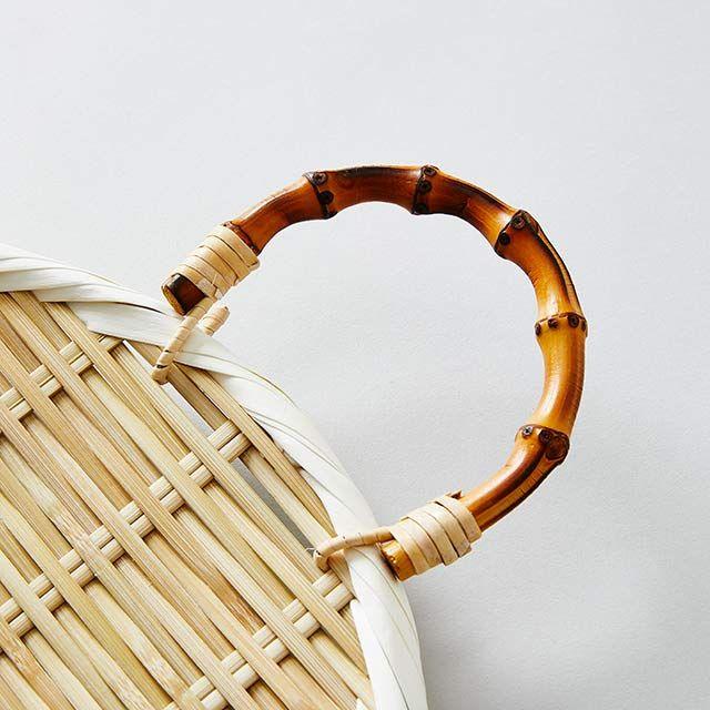 山下工芸 根竹柄付き 盆ザル 小