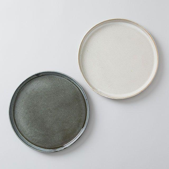 向山窯×TODAY'S SPECIAL FLAT PLATE 8寸 斑白