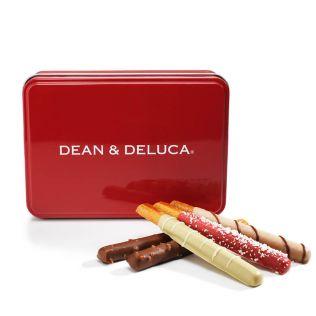 DEAN & DELUCA チョコレートカバードプレッツェル アソート赤缶