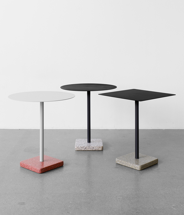 TERRAZZO TABLE / ROUND/SKY GREY/RED