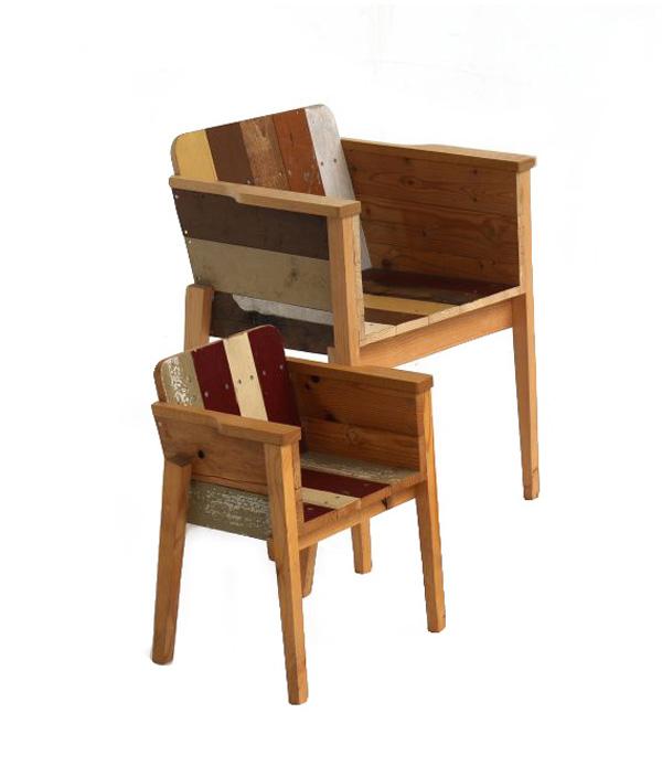 Child's scrapwood arm chair