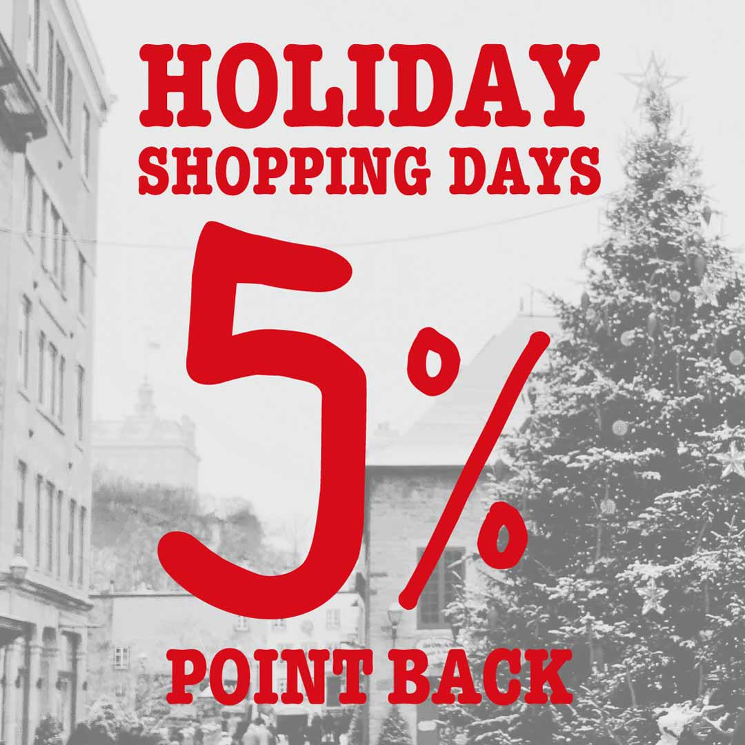 【INFO】HOLIDAY SHOPPINNG DAYS 5% ポイントバック キャンペーン 12/13~