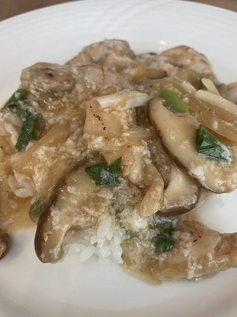 鶏肉と椎茸のとろろあんかけご飯
