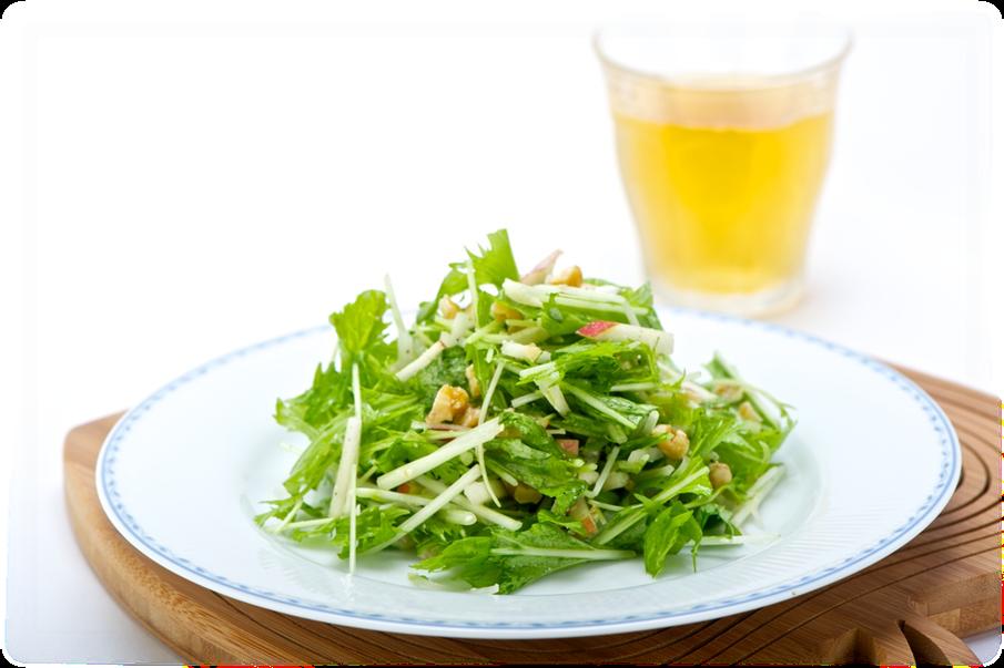 水菜とりんごの香りサラダ