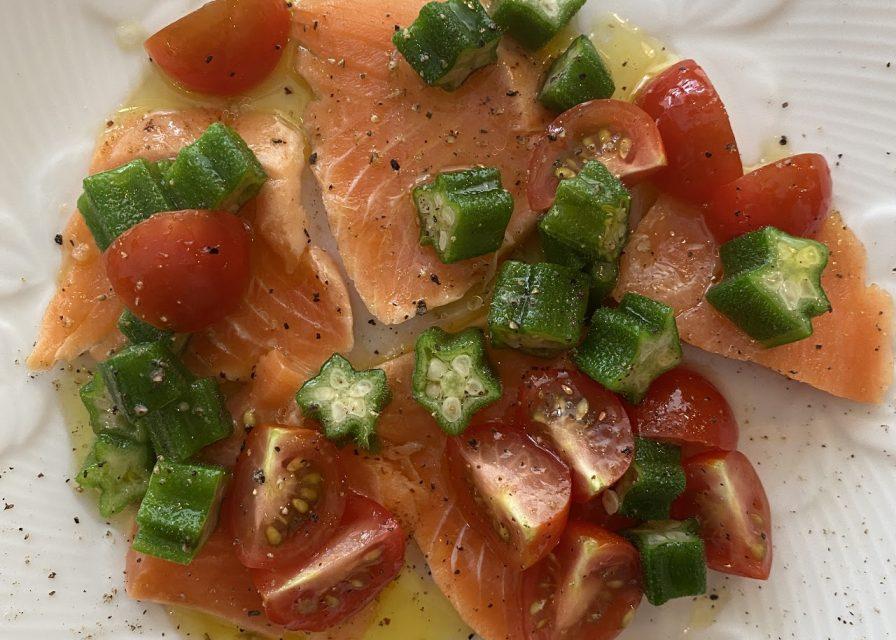 魚のカルパッチョ  オクラとミニトマトのドレッシング