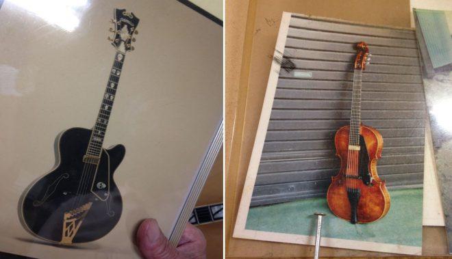 辻氏の「作るのが大変だったメモリアルギター」写真。左のギターの「ドクロマーク」は全て貝殻の埋め込み。右は、あらゆる無茶振りに平然と応じる辻氏に「二度とやりたくない」とまで言わしめたヴァイオリン型のギター。