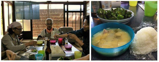 みんなで囲む、至福のお昼ごはんは、渡辺さんの奥さまの手料理!