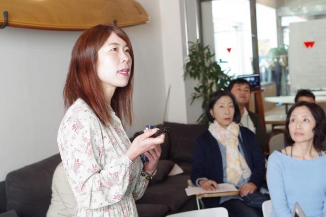 和気町の取り組みについて説明する濱田さん