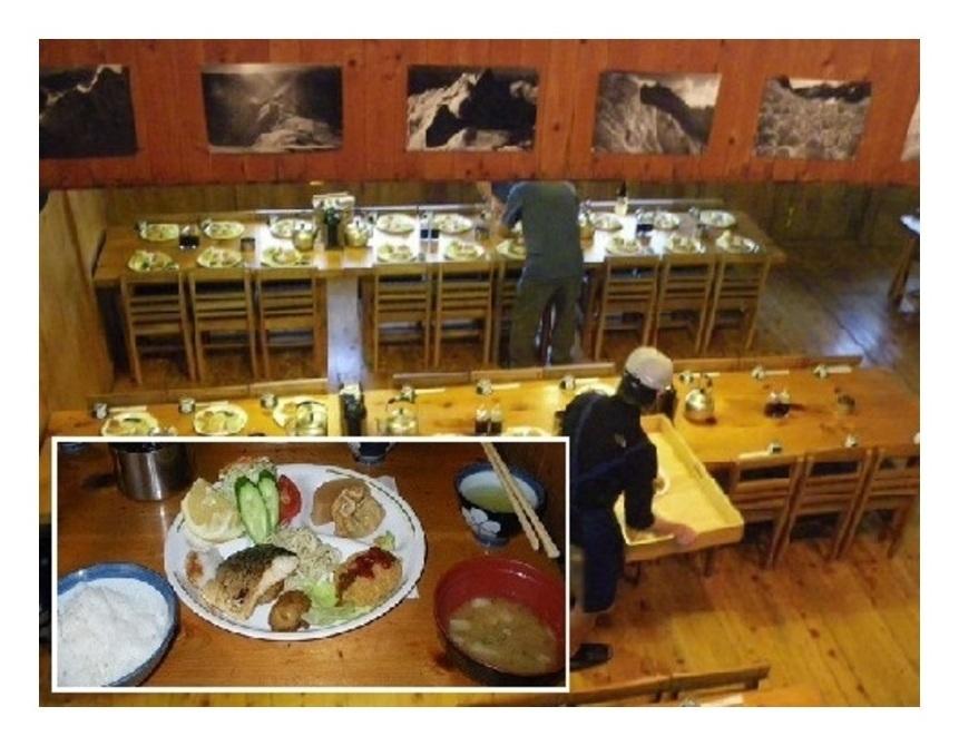 穂高山荘の食堂