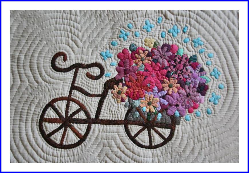 自転車と花かご