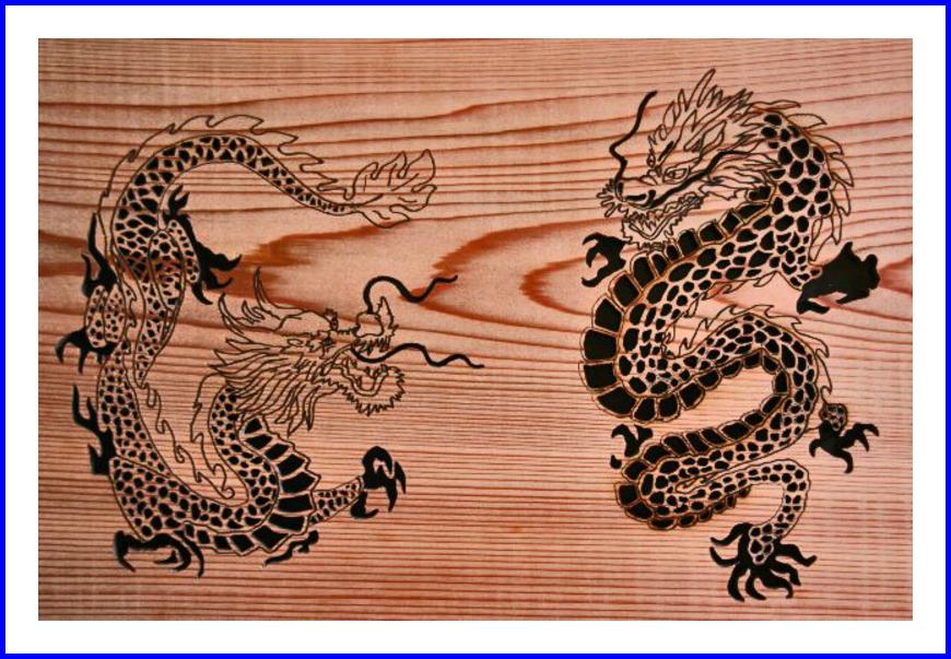 迫力のある2匹の龍