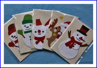 布で作るクリスマスカード