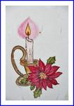 蝋燭とポインセチア