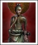 奈良法隆寺内(中宮寺)の弥勒菩薩半跏思惟像(PC絵画)