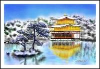 雪の金閣寺(PC絵画)