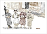 100年前の子供たち(PC絵画)