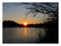 千波湖の夕日