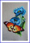 刺繍 蝶とポピー