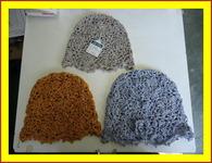 研究して連続モチーフ編みで作った帽子