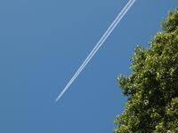 山の飛行機雲